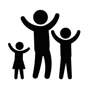 Father with Children Raising Arms Download
