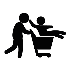 Father with Son on Shopping Cart Download